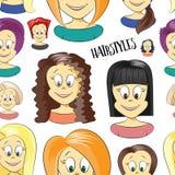 Fashion female avatars. Hairstyles pattern Royalty Free Stock Photo