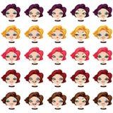 Fashion female avatars set of expressions Royalty Free Stock Photo