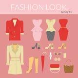 Fashion female clothes set Royalty Free Stock Image