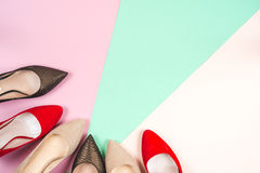 Fashion, female different shoes on high heels Royalty Free Stock Photos