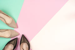 Fashion, female different shoes on high heels Stock Photos