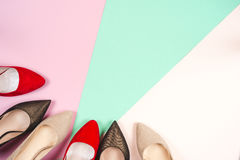 Fashion, female different shoes on high heels Stock Photography