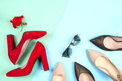 Fashion, female different shoes on high heels Royalty Free Stock Image