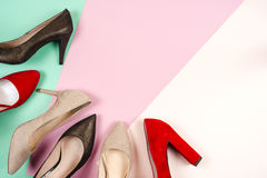 Fashion, female different shoes on high heels Royalty Free Stock Images