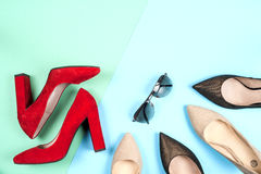 Fashion, female different shoes on high heels Royalty Free Stock Photography