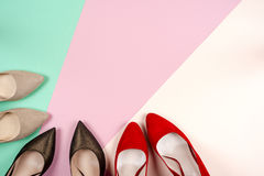 Fashion, female different shoes on high heels Stock Images