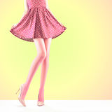 Fashion. Female dress.Long legs, high heels Outfit Stock Photos