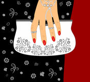 Fashion for Female hand holding a purse  illustration Stock Photography