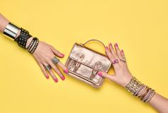 Fashion.Female hand, Trendy Jewelry.Shopping Sales Stock Images