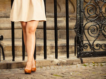 Fashion. Female legs in stylish shoes outdoor Stock Photos