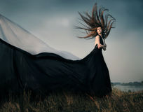 Fashion female model with long blowing hair outdoor. Stock Image