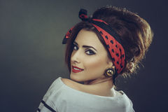 Fashion female model in retro outfit Royalty Free Stock Photo