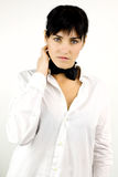 Fashion female model wearing tie and shirt Stock Images