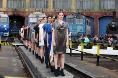 Fashion female models row Royalty Free Stock Image