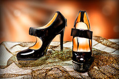 Fashion female shoes on a high heel Stock Photo