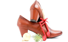 Fashion female shoes over white background Stock Photo