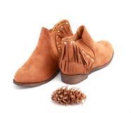 Fashion female shoes over white background Stock Image