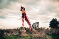 Fashion female in short red dress Stock Photos