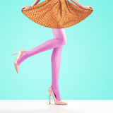 Fashion. Female skirt.Long legs, high heels Outfit. Fashion. Female Skirt. Long Legs, fashion skirt, Trendy high Heels. Female sexy legs, Stylish skirt, Summer Stock Image