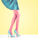Fashion. Female skirt.Long legs, high heels Outfit Stock Image