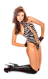 Fashion female in a striped gym leotard Stock Images