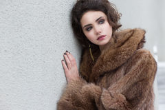 Loneliness. Winter. Beautiful Refined Female in Wool Fur Coat Stock Photos