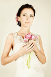Fashion fiancee. In vintage evening gown Stock Image