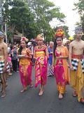 Fashion figures at the event commemorate the independence of indonesia on the road slamet riyadi solo 2017 Royalty Free Stock Images