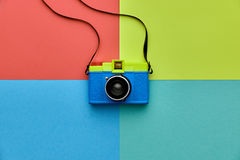 Fashion Film Camera. Hot Summer Vibes. Pop Art. Creative Retro Design camera. Hipster Trendy Accessories. Sunny summer Still life. Bright Sweet fashion Style Stock Photo
