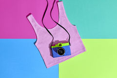 Fashion Film Camera. Hot Summer Vibes. Pop Art. Hipster Clothes Set, Trendy Top. Urban summer Outfit. Creative Retro Design camera. Bright Sweet fashion Style Stock Image
