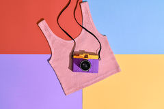 Fashion Film Camera. Hot Summer Vibes. Pop Art. Hipster Clothes Set, Trendy Top. Urban summer Outfit. Creative Retro Design camera. Bright Sweet fashion Style Royalty Free Stock Photos
