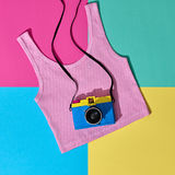 Fashion Film Camera. Hot Summer Vibes. Pop Art. Hipster Clothes Set, Trendy Top. Urban summer Outfit. Creative Retro Design camera. Bright Sweet fashion Style Royalty Free Stock Images