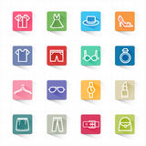 Fashion flat icons set and white background Royalty Free Stock Photo