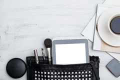 Fashion flat lay for bloggers social media. Feminine accessories Stock Photo