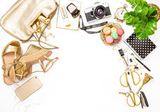 Fashion flat lay bloggers social media. Feminine accessories bag Stock Image