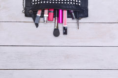 Fashion flat lay for bloggers social media. Makeup Stock Photos
