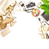 Fashion flat lay Feminine accessories bag shoes social media Royalty Free Stock Photography