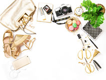 Fashion flat lay sale shopping accessories bag shoes Royalty Free Stock Images