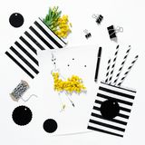 Fashion flat lay Sketch book mimosa flowers office supplies Stock Photos