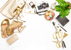 Fashion flat lay for web site social media Feminine accessories Royalty Free Stock Image