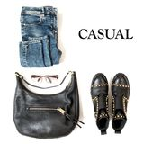 Fashion flat lay website social media Casual clothing jeans bag. Fashion flat lay for website, social media. Casual clothing jeans, bag, shoes Stock Photography