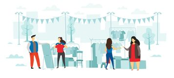 Fashion flea market. People buy and sell clothes, open air street swap-party and fair of clothe flat vector illustration royalty free illustration