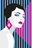 fashion flickan Djärv minsta stil Popkonst OpArt, positivt negativt utrymme och färg Moderiktiga remsor också vektor för coreldra Royaltyfri Bild