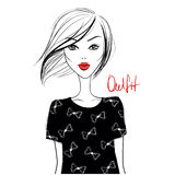 fashion flickan gullig flicka Skissa flickan model barn stilfull flicka Arkivbilder