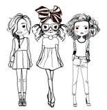 fashion flickor royaltyfri illustrationer
