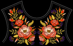 Fashion floral embroidery. Royalty Free Stock Photography