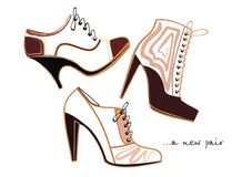 Fashion footwear. Vector drawing of the trendy footwear Royalty Free Stock Photos