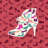 Fashion footwear background and icons set. Vector illustration Stock Photos