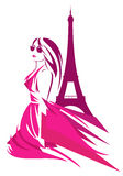 Fashion in france. Fashion woman wearing pink dress in paris - trendy girl and eiffel tower vector design royalty free illustration
