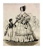 1836 fashion, French magazine Journal des dames, mother and litt. French 1836 fashion, young lady fancy dressed with laces, frills and hairdo walking in the park vector illustration